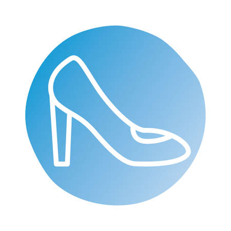 female heel shoe block style icon vector illustration design
