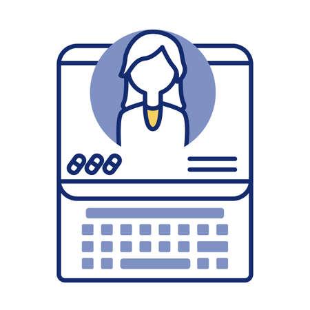 laptop with doctor health online line stylevector illustration design