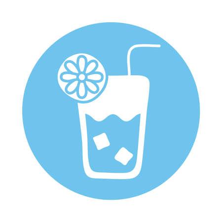 fresh tropical cocktail block style vector illustration design