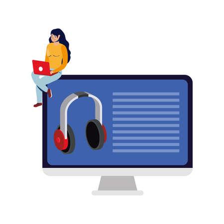 business online ecommerce with woman using laptop and desktop vector illustration design Stock Illustratie