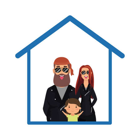 Father mother and son inside house design of Stay at home theme Vector illustration