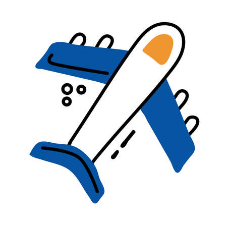 airplane flying line and fill style icon vector illustration design Vectores