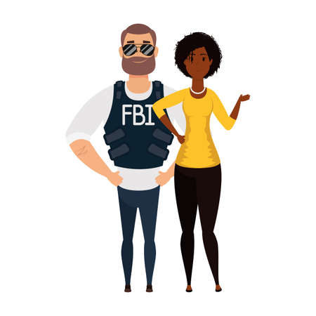 young man fbi agent with afro woman characters vector illustration design