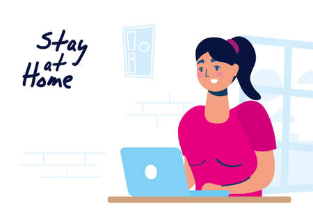 woman using laptop stay at home campaign vector illustration
