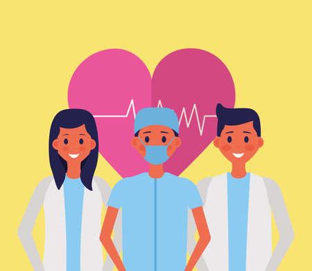 medical people staff heartbeat health doctor surgeon vector illustration