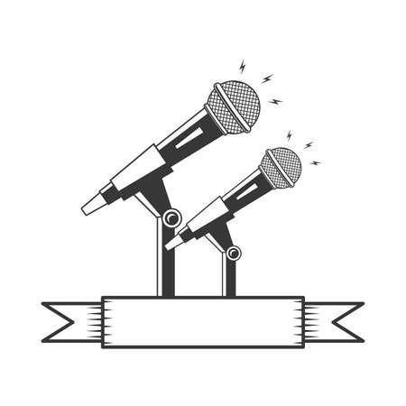 microphone sound retro icon on white background vector illustration Vectores