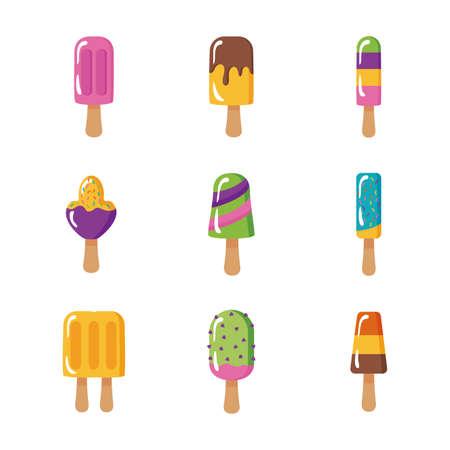 bundle of ice creams set icons vector illustration design