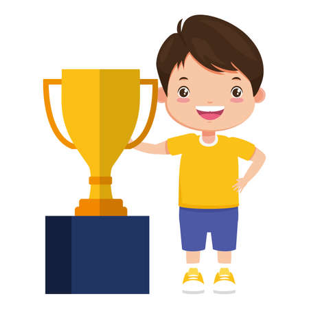 happy boy with trophy award sport vector illustration