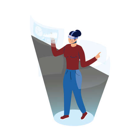 woman using reality virtual tech in interactive display vector illustration design Stock Illustratie
