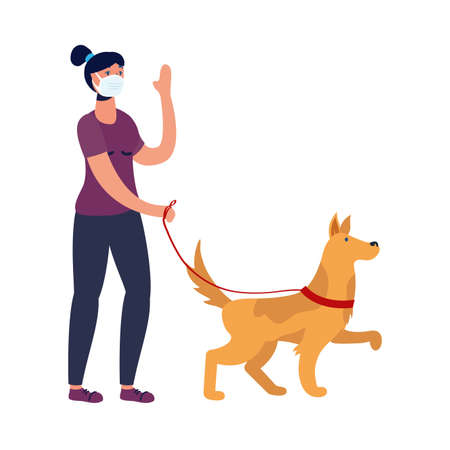 woman with mask and dog design of medical care and covid 19 virus theme Vector illustration