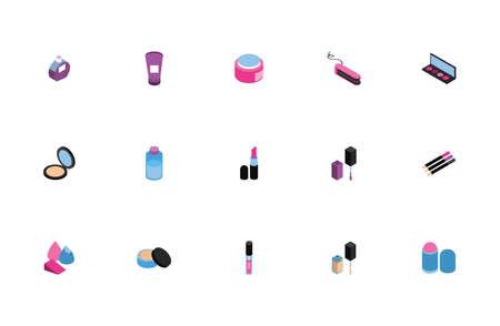 bundle of make up set icons vector illustration design