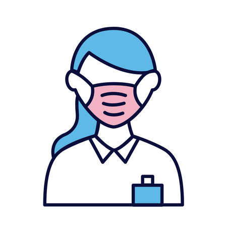 female wearing medical mask line and fill style icon vector illustration design Stock Illustratie