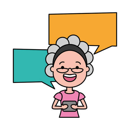 woman with smartphone and speech bubble character vector illustration desing