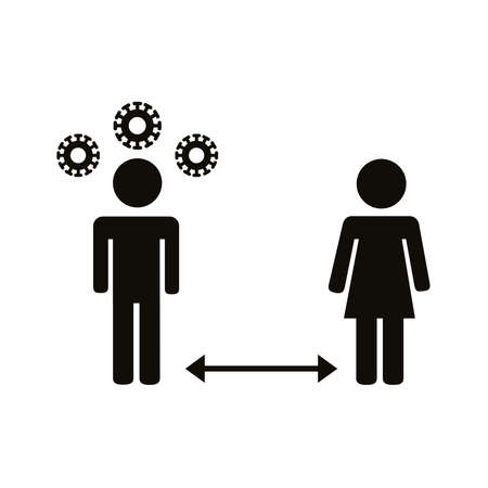 couple humans silhouettes distance social silhouette style icon vector illustration design Stock Illustratie