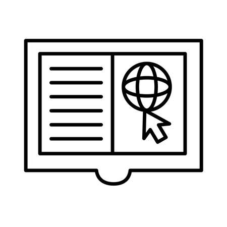 sphere browser in book with arrow mouse line style icon vector illustration design