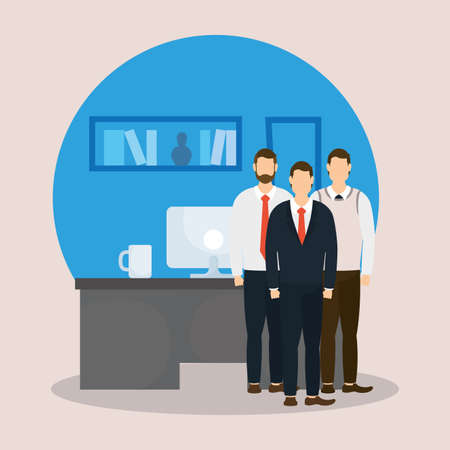 Businessmen and desk with computer design, Office business management and corporate theme Vector illustration