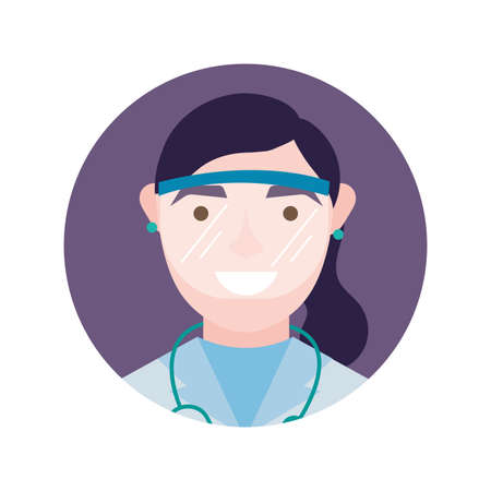 female doctor with uniform and mask design of medical care and covid 19 virus theme Vector illustration