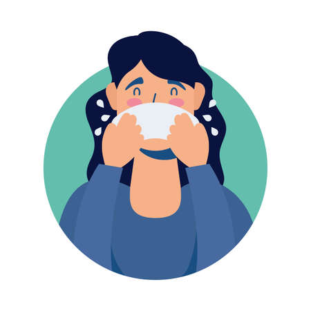 young woman sick with runny nose avatar character vector illustration design