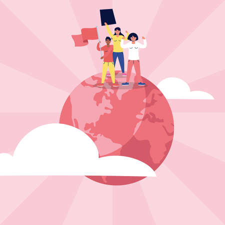 interracial women protesting with flags and placard in world planet vector illustration design
