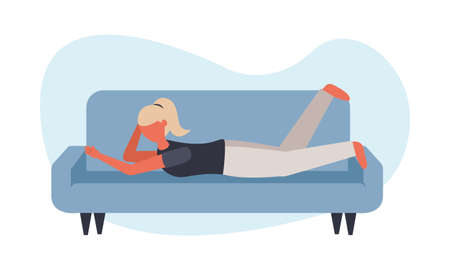 Woman on couch design of Stay at home theme Vector illustration Stock Illustratie