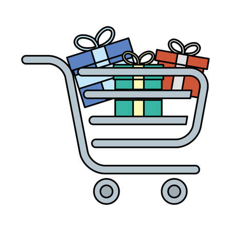 shopping cart with gifts boxes presents vector illustration design Ilustracja