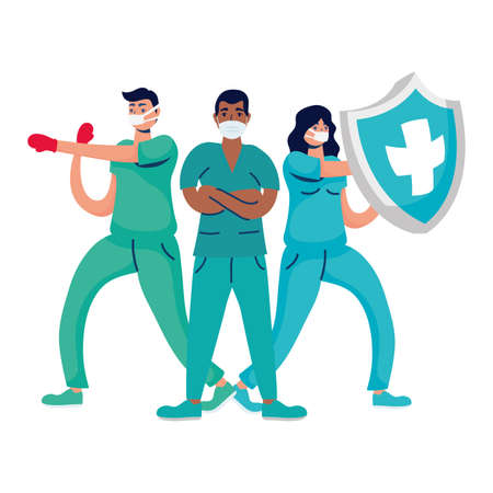 professional doctors boxing with gloves and shield vector illustration design Stock Illustratie