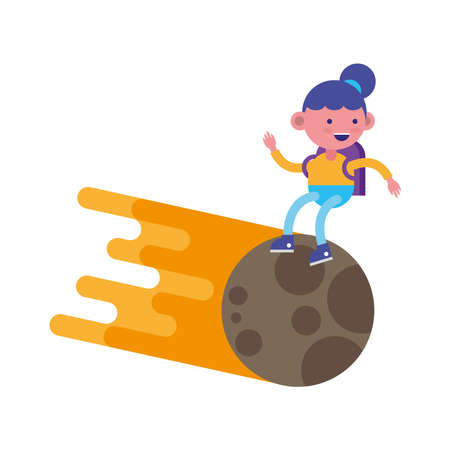 little student girl flying in moon comic character vector illustration design Vectores
