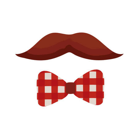 mustache and bowtie flat style icon vector illustration design