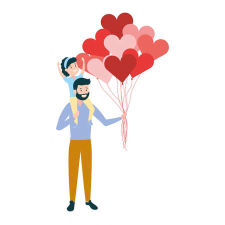 father daughter on his shoulders with balloons vector illustration