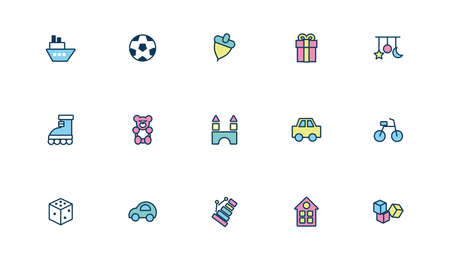 bundle of child toys set icons fill style vector illustration design