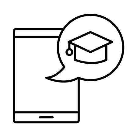 hat graduation in speech bubble with smartphone line style vector illustration design