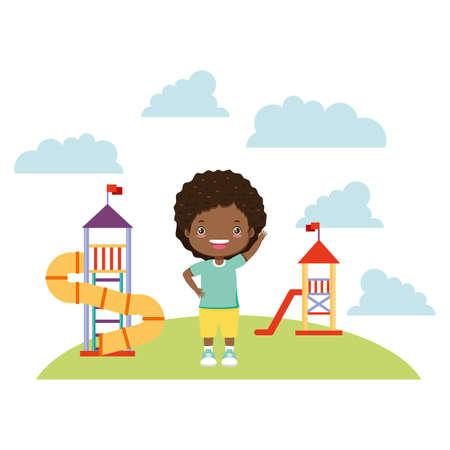 girl waving hand playground slide - kid zone vector illustration Ilustração