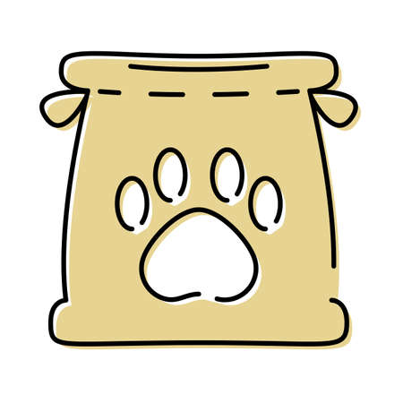 paper bag with paw print mascot vector illustration design