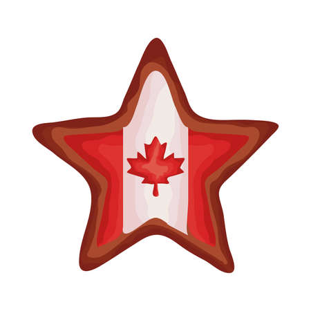 star with canada flag flat style vector illustration design Ilustração