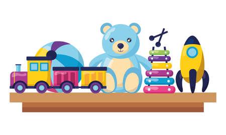 kids toys bear train xylophone rocket ball vector illustration