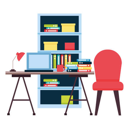 office workplace furniture desk bookshelf vector illustration
