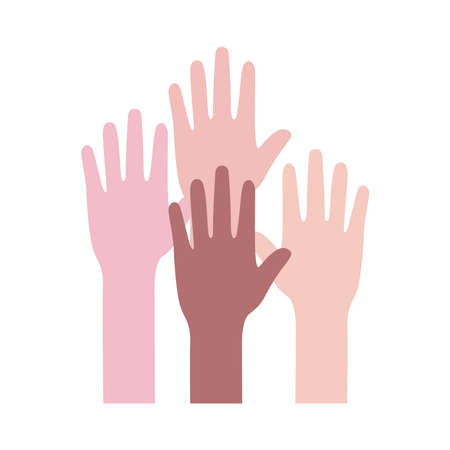 diversity hands human team up flat style icon vector illustration design