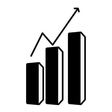 business growth chart on white background vector illustration Vectores