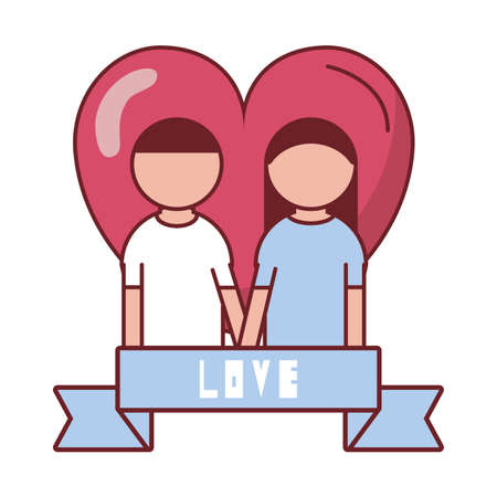 Couple in front of heart with love ribbon design of love passion and romantic theme Vector illustration