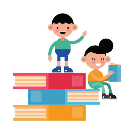 little students boys seated in books comic characters vector illustration design
