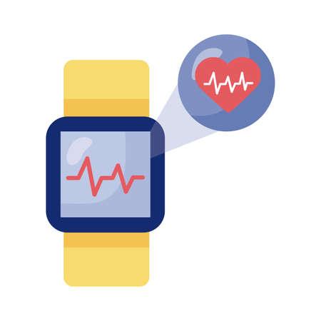 smartwatch with heart cardio health online detaild style vector illustration design Illustration