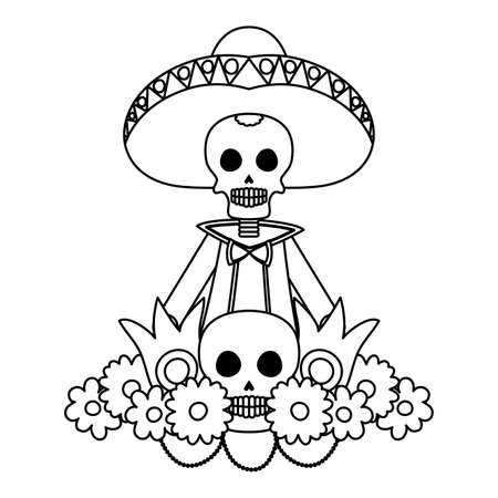mariachi skull with flowers comic character vector illustration design