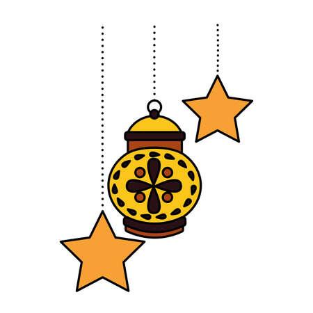 hanging lantern stars decoration on white background vector illustration