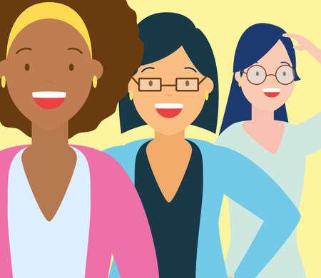 diversity three women people vector illustration design
