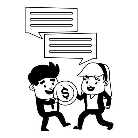 businessman woman money coin online payment vector illustration