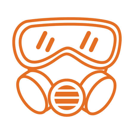 bio security mask protectionline style vector illustration design