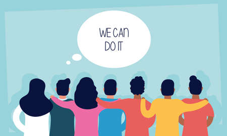 group of people back with we can do it message in speech bubble vector illustration design 矢量图像