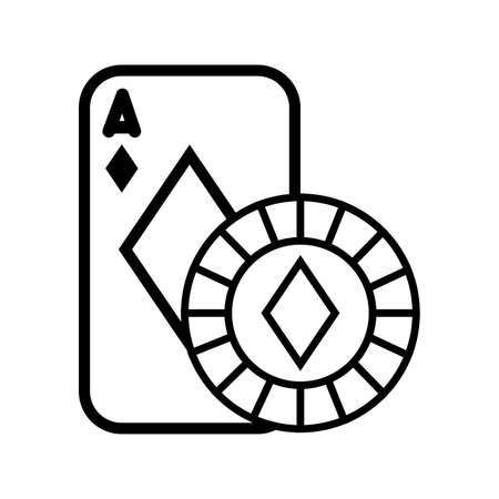 casino poker card and chip with diamond isolated icon vector illustration design