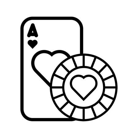 casino poker card and chip with heart isolated icon vector illustration design