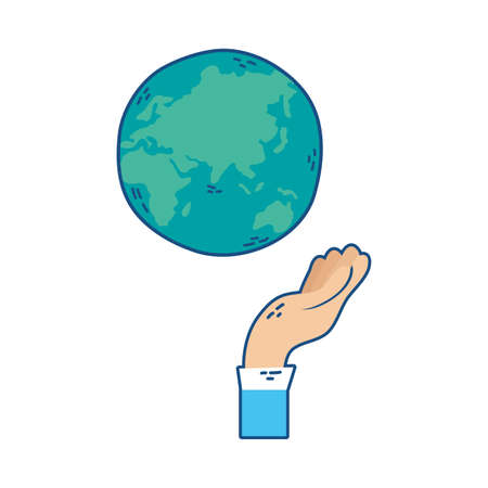 hand lifting world planet earth vector illustration design Ilustração